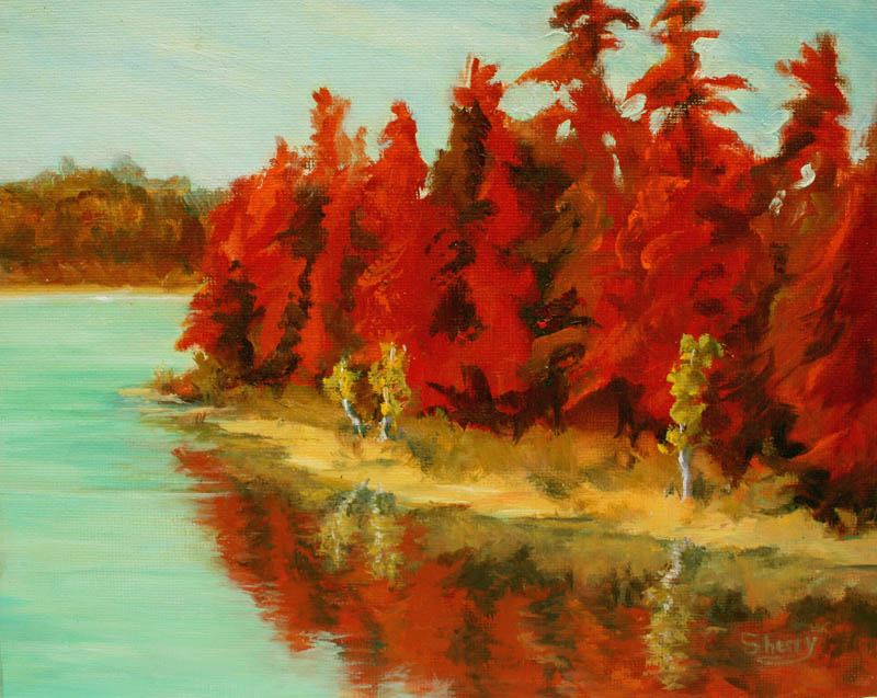 Lillian Lake in Red 10x8 oil