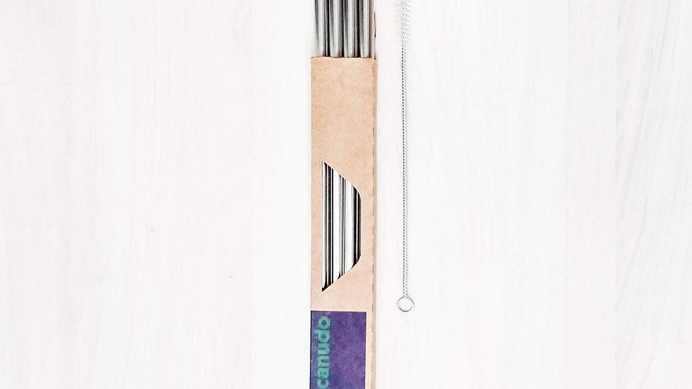 Kit 4 canudos de inox 8mm (4 retos 8mm e 1 escova)