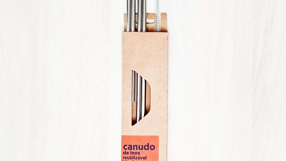 Kit 4 canudos de inox misto (2 retos 2 curvados e 1 escova)