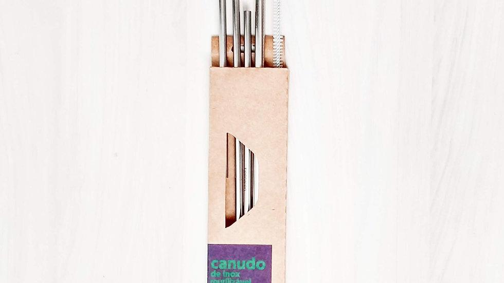 Kit 4 canudos de inox mix (1 curvado, 1 reto, 1 drink, 1 8mm e 1 escova)