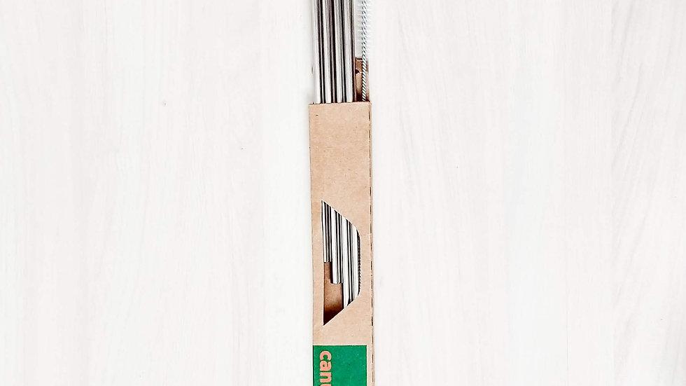Kit 4 canudos de inox retos (4 retos e 1 escova)