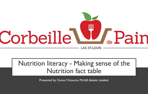 Nutrition literacy - Making sense of the nutrition fact table