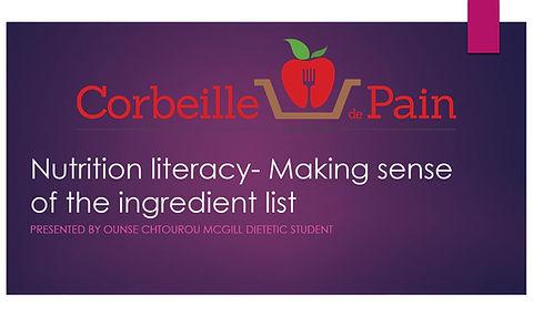 Nutrition literacy - Making sense of the ingredient list