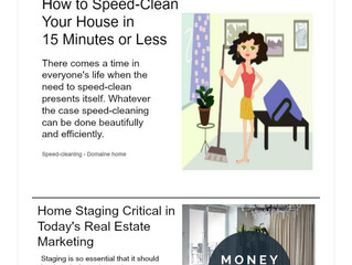 6 Ways to Add Color to a Room, How to Speed Clean In 15 Minutes, Home Staging Critical for Today's M