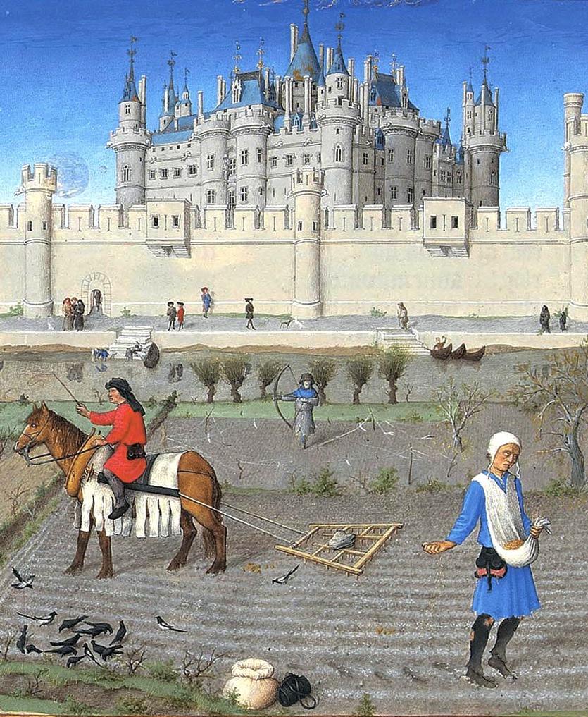иллюстрация из рукописи Великолепный часослов герцога Беррийского, феодальная жизнь