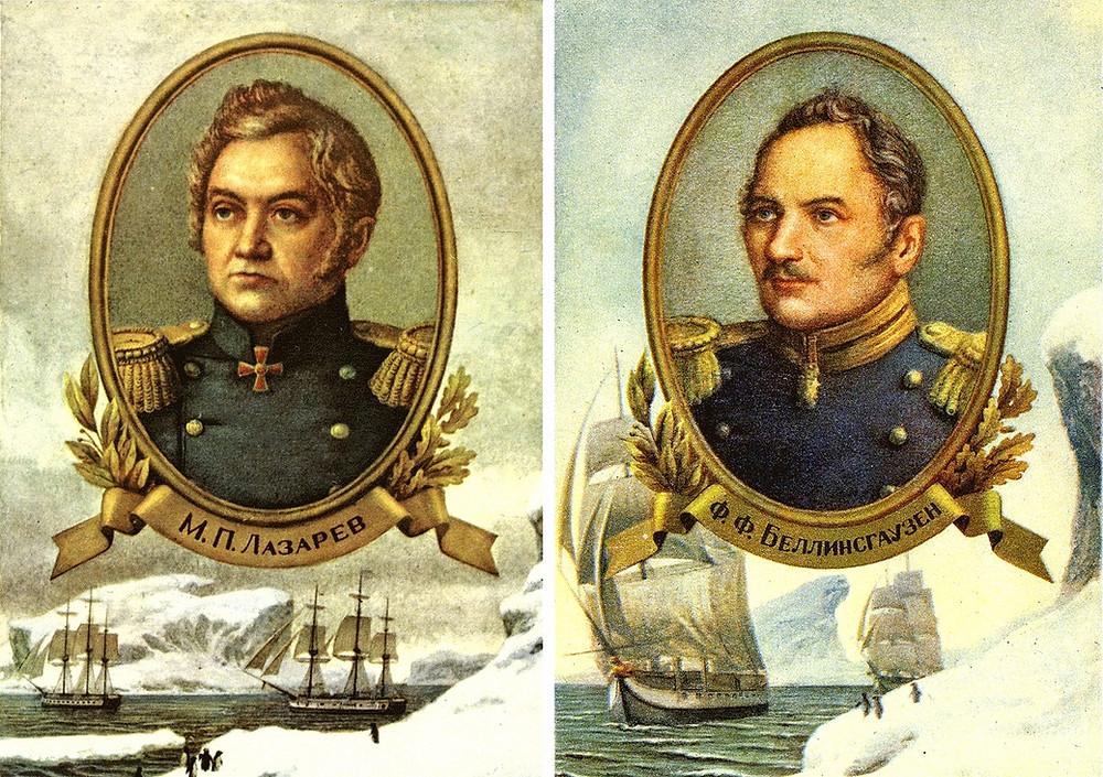 Портреты русских первооткрывателей Антарктиды М.П. Лазарева и Ф.Ф. Беллинсгаузена