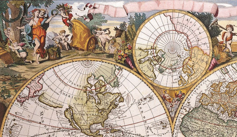 Фрагмент карты мира, 17 век