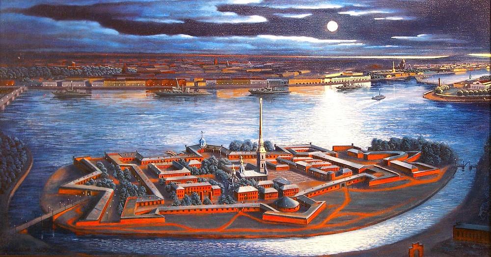 Петропавловская крепость картина сверху