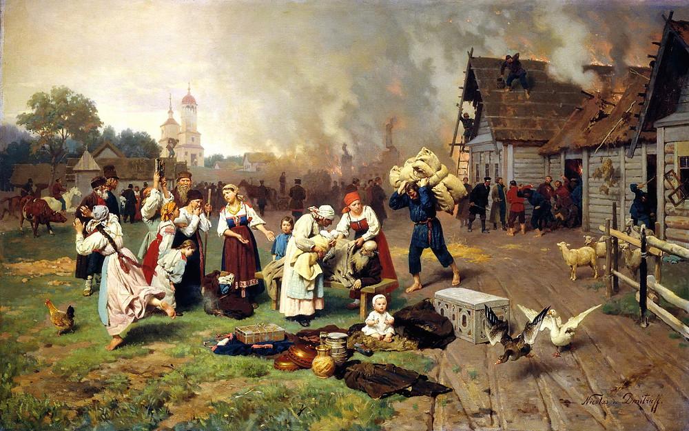 «Пожар в деревне», художник: Н.Д. Дмитриев-Оренбургский