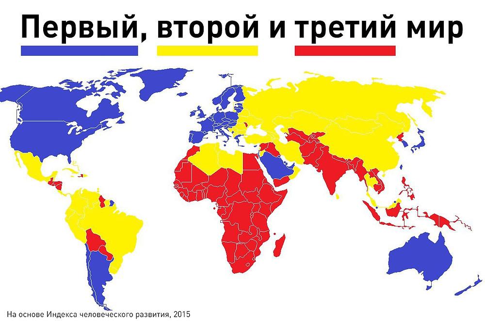 Карта стран первого, второго и третьего мира