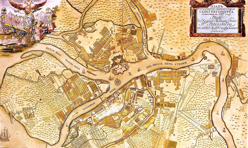 Карта Санкт-Петербурга 1737 года