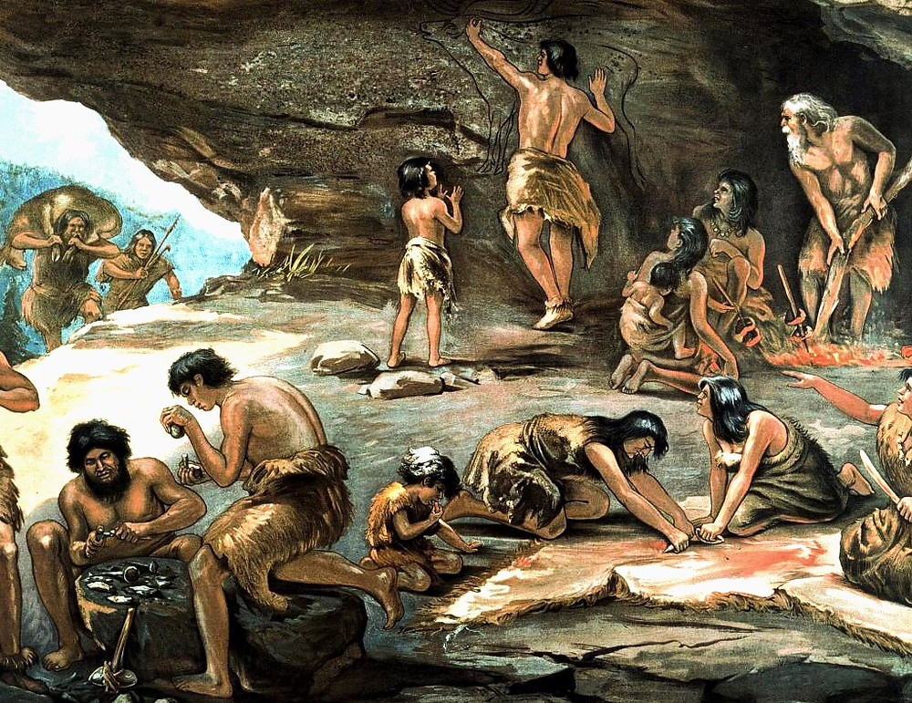 Древние люди работают