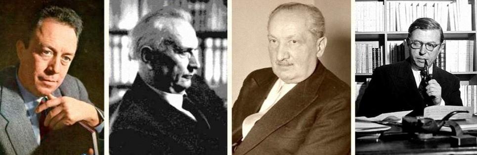 Главные представители экзистенциализма: Камю, Ясперс, Хайдеггер, Сартр - портреты