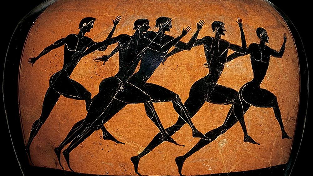 атлеты, изображённые на амфоре