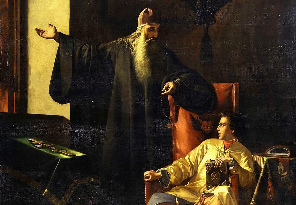 Иван IV и протопоп Сильвестр во время большого московского пожара 24 июня 1547 года