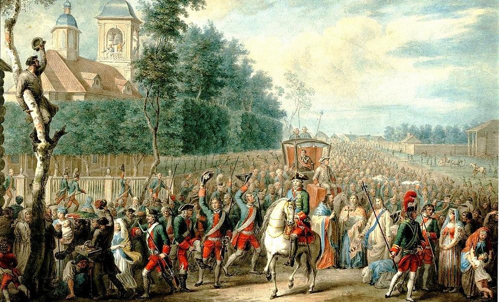 Шествие Екатерины II по Петергофской дороге в день дворцового переворота 28 июня 1762 года