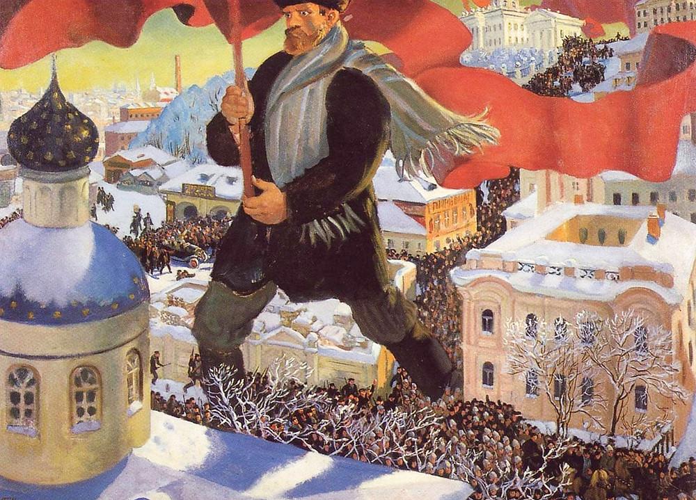 """Россия в 20 веке. Картина """"Большевик"""" / Б. Кустодиев, 1920 год"""