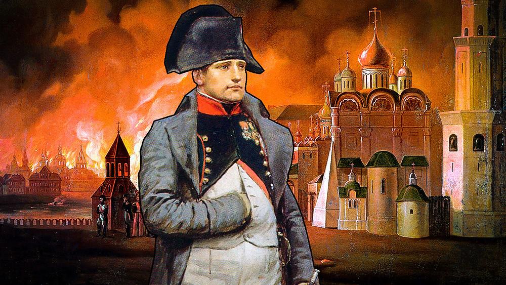 Наполеон на фоне горящей Москвы