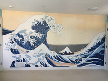 Wall paint, recreation of The Great Wave by Hokusai