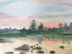 Horn Pond at Sunset