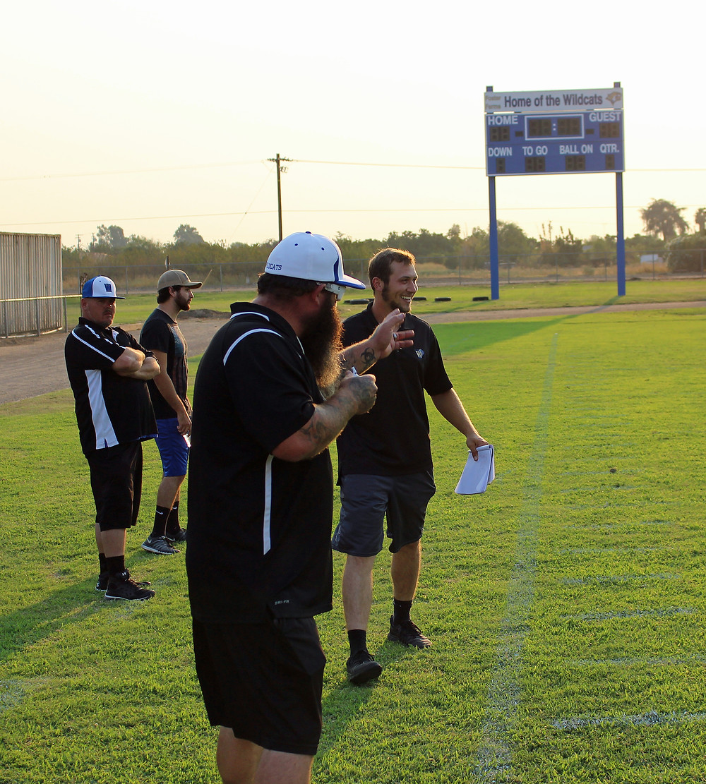 Coach Statzer & Coach Hawkins Celebrate A Pass TD