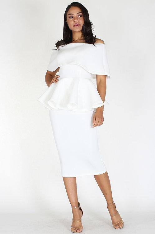 Off shoulders peplum mini dress