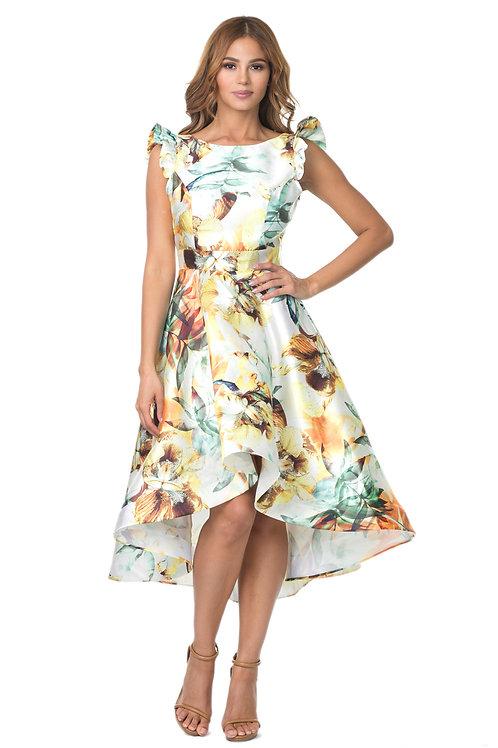 Floral high low mini dress