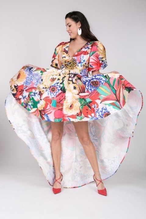 Plus size glam high low printed dress