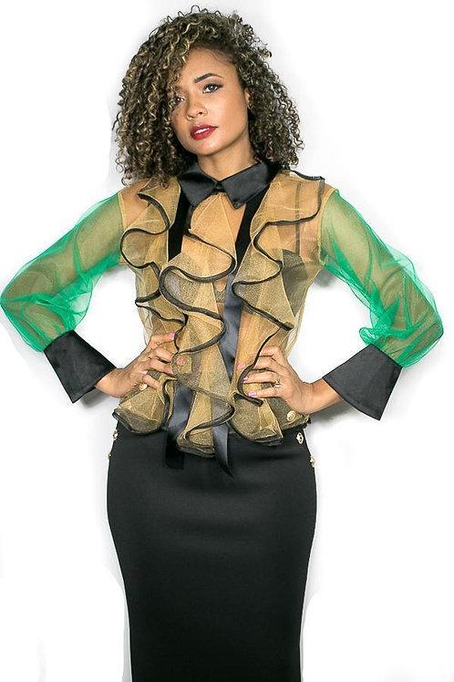 Glamorous organza ruffled blouse