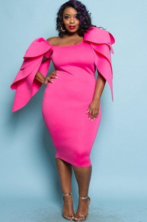 Glam leaf shoulder mini dress