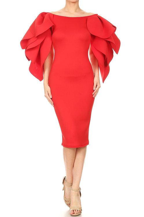 Glam leaf sleeves mini dress