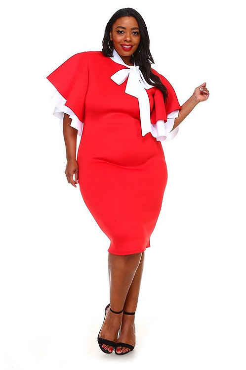 TIED NECK AND FLARED SLEEVES MINI DRESS - RED