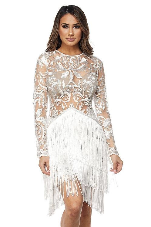 Glamorous lace & fringe dress