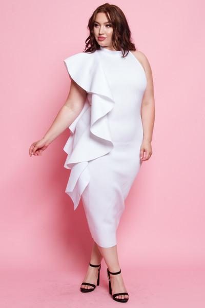 Plus size Glam side ruffle mini dress