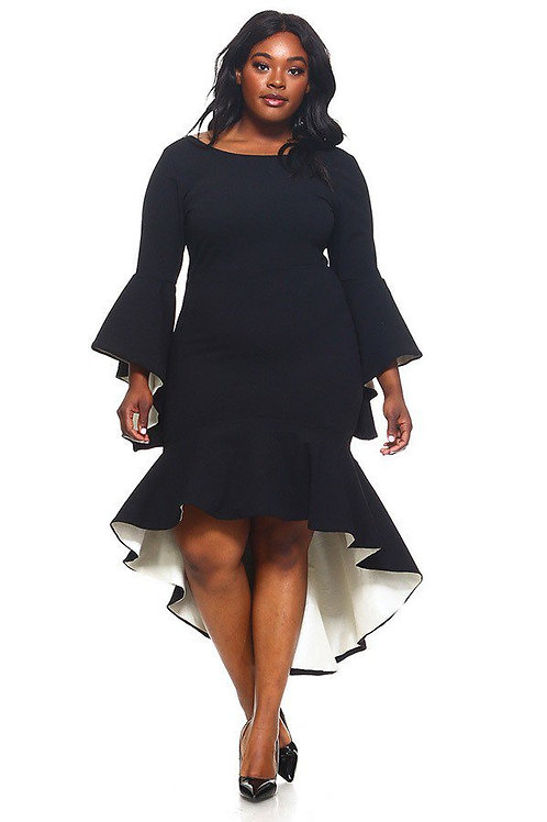 long bell sleeves high-low dress