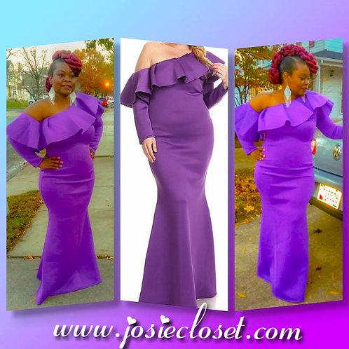 Plus size glam one shoulder maxi dress
