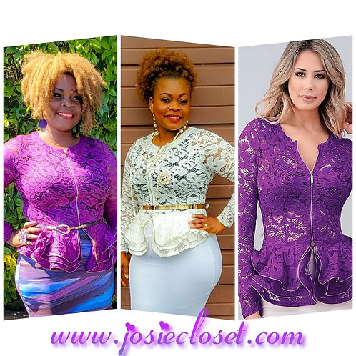 Beautiful lace peplum blouse -Purple