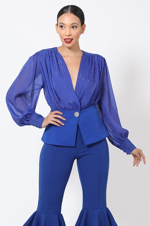 GLAMOUR ONE BUTTON BLOUSE