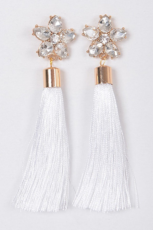 Charm flower tassel earrings