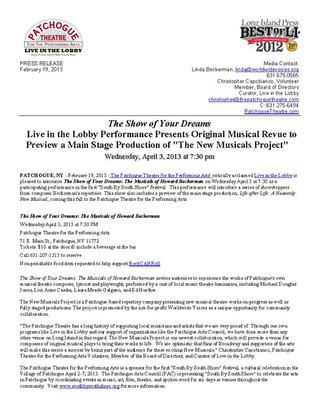 Press Release: February 19, 2013