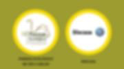 Imagem com logo do Parque Ecológico de São Carlos e logo da Discasa dentro de círculos brancos com bordas amarelos em fundo verde.