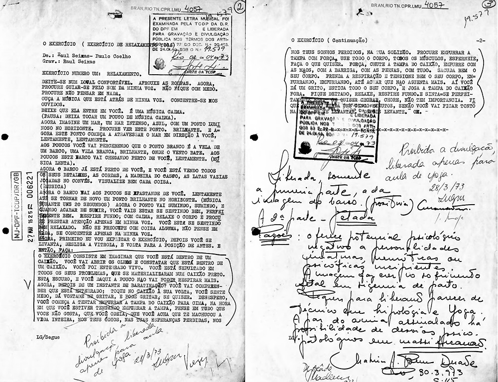 """Documento da censura avaliando a música """"O Exercício"""", de Raul Seixas e Paulo Coelho, 1973"""