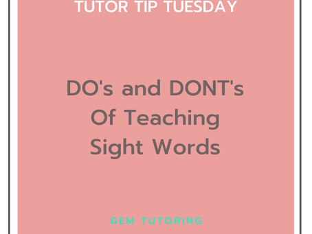 Do's and Don'ts of Sight Words