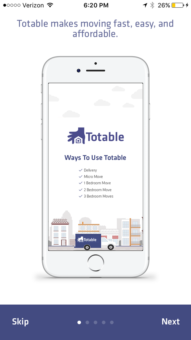 Totable to reinvent moving with easy on-demand moving and delivery app