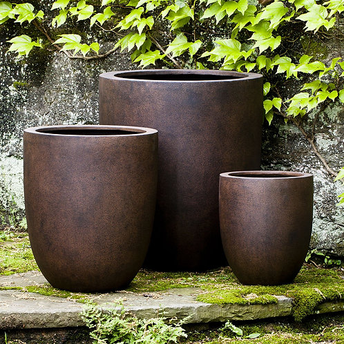 BRADFORD ROUND PLANTERS Set of 3 - by Campania
