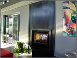 Two-Way Steel Fireplace With Patina
