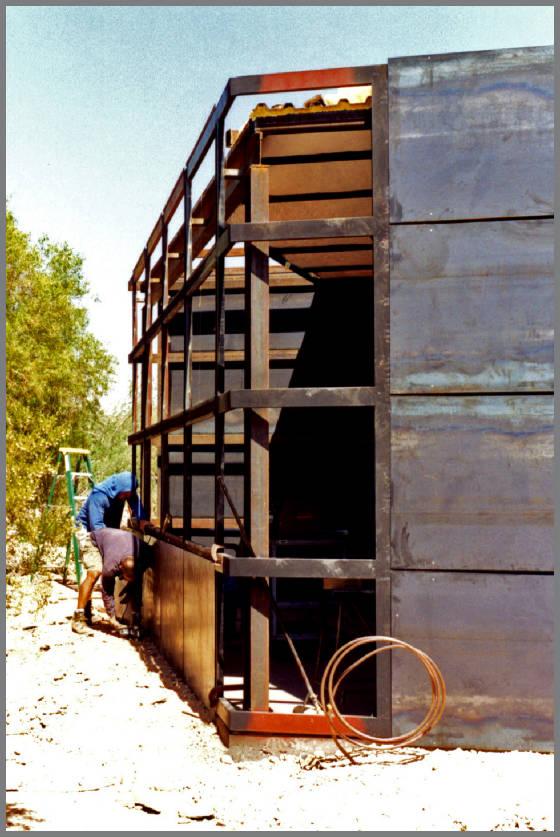 Steel Panels Riveted to Framework