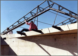 Roof Trusses Into Position