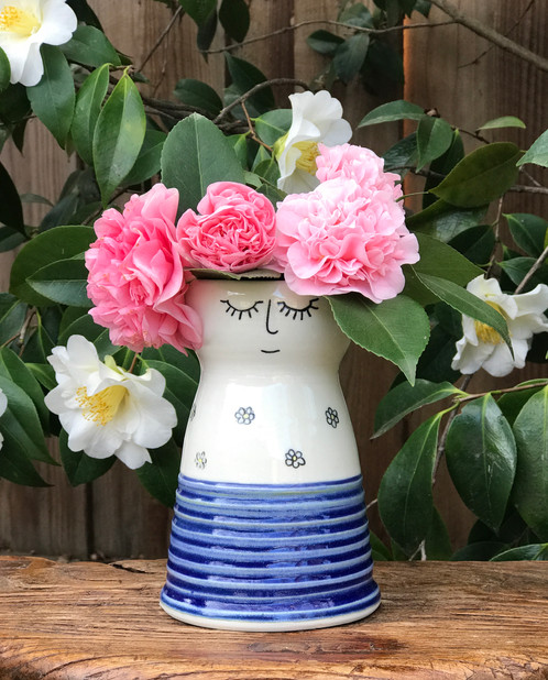Miss Carrie Chrysanthemum Porcelain Lady Vase In A Floral Dress With