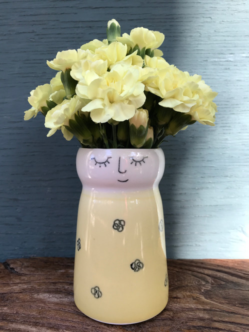 Miss Dinah Daffodil Porcelain Lady Vase In Her Yellow Floral Dress